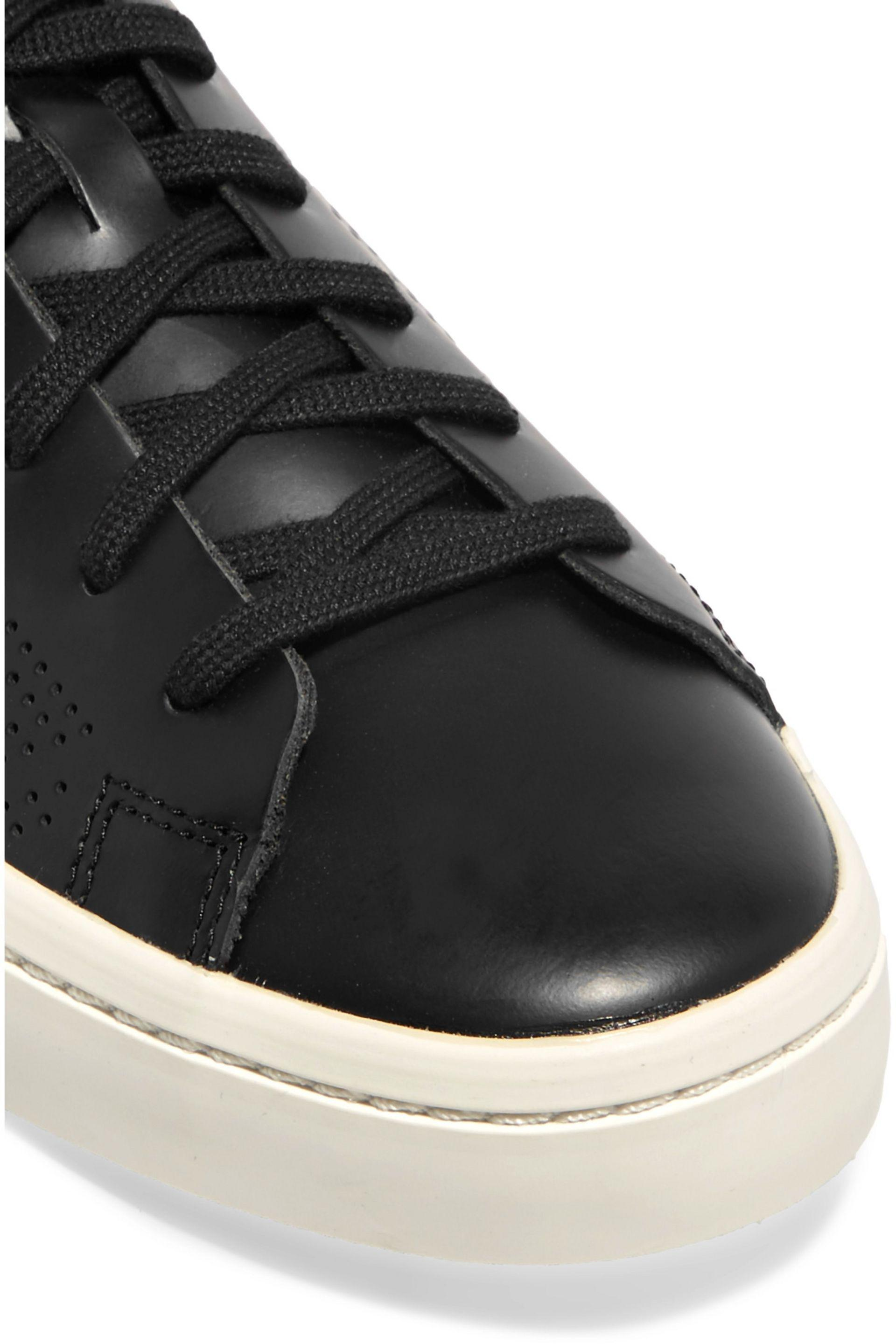 adidas Court Vantage Perforated Leather Sneakers in Black