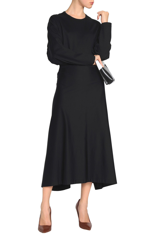 Black Cotton Jersey Stretch Lyst Sander Midi Jil Dress In 0Eqtvt