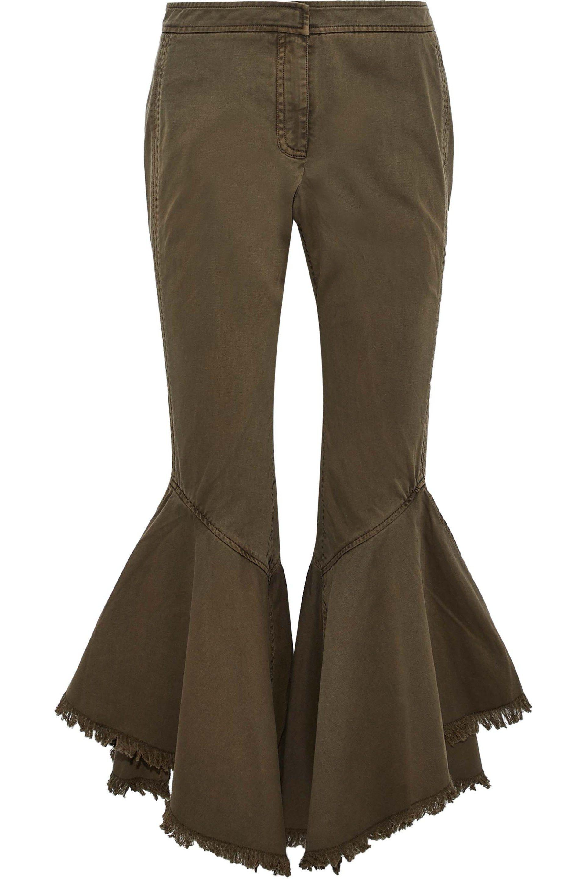 For Sale Top Quality Cinq À Sept Woman Wysteria Frayed Cotton-twill Kick-flare Pants Army Green Size 2 Cinq à Sept Fashionable For Sale Affordable Sale Online New Online jWdOEcuKV