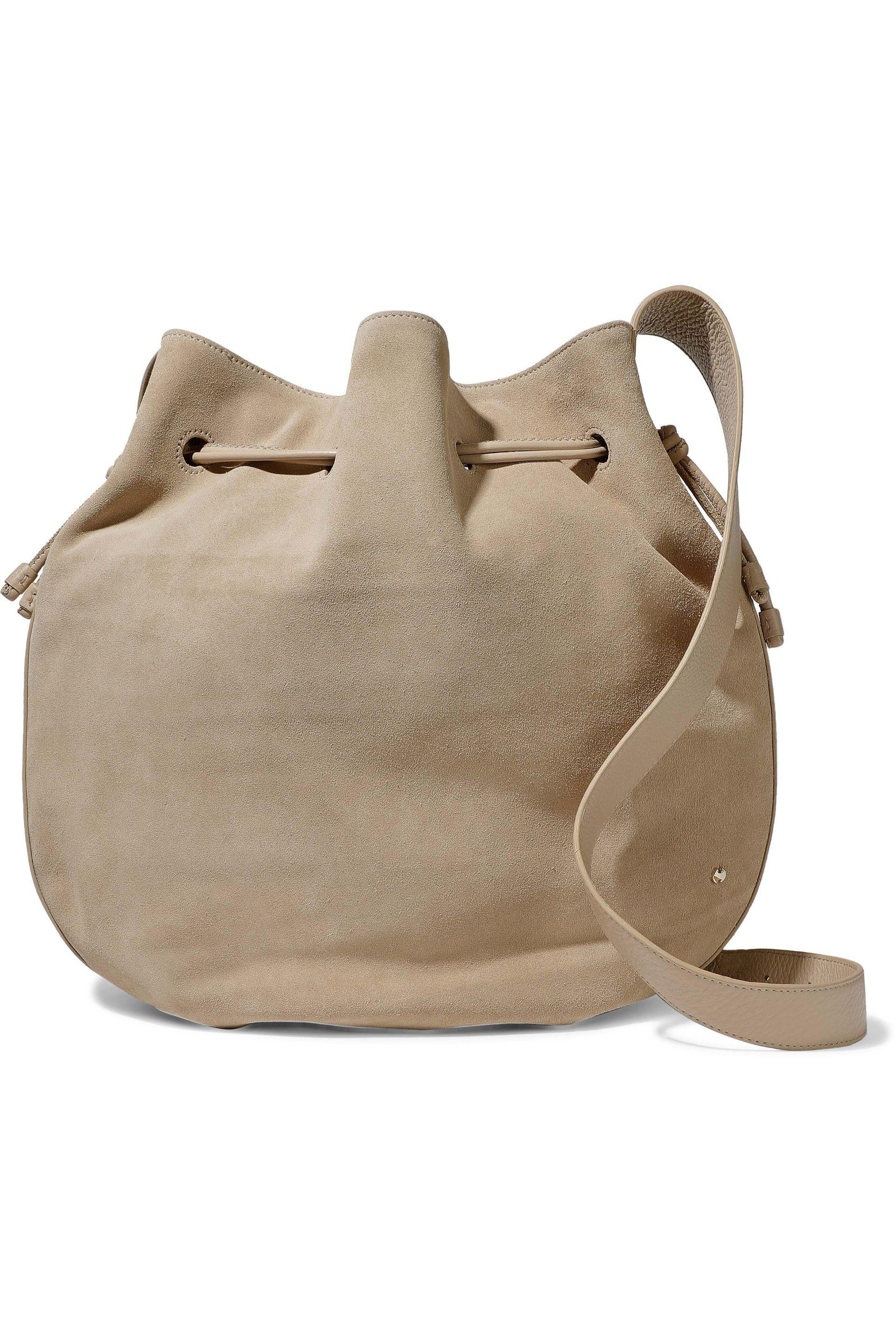 22c30f205554 Lyst - Halston Leather-trimmed Suede Bucket Bag in Natural