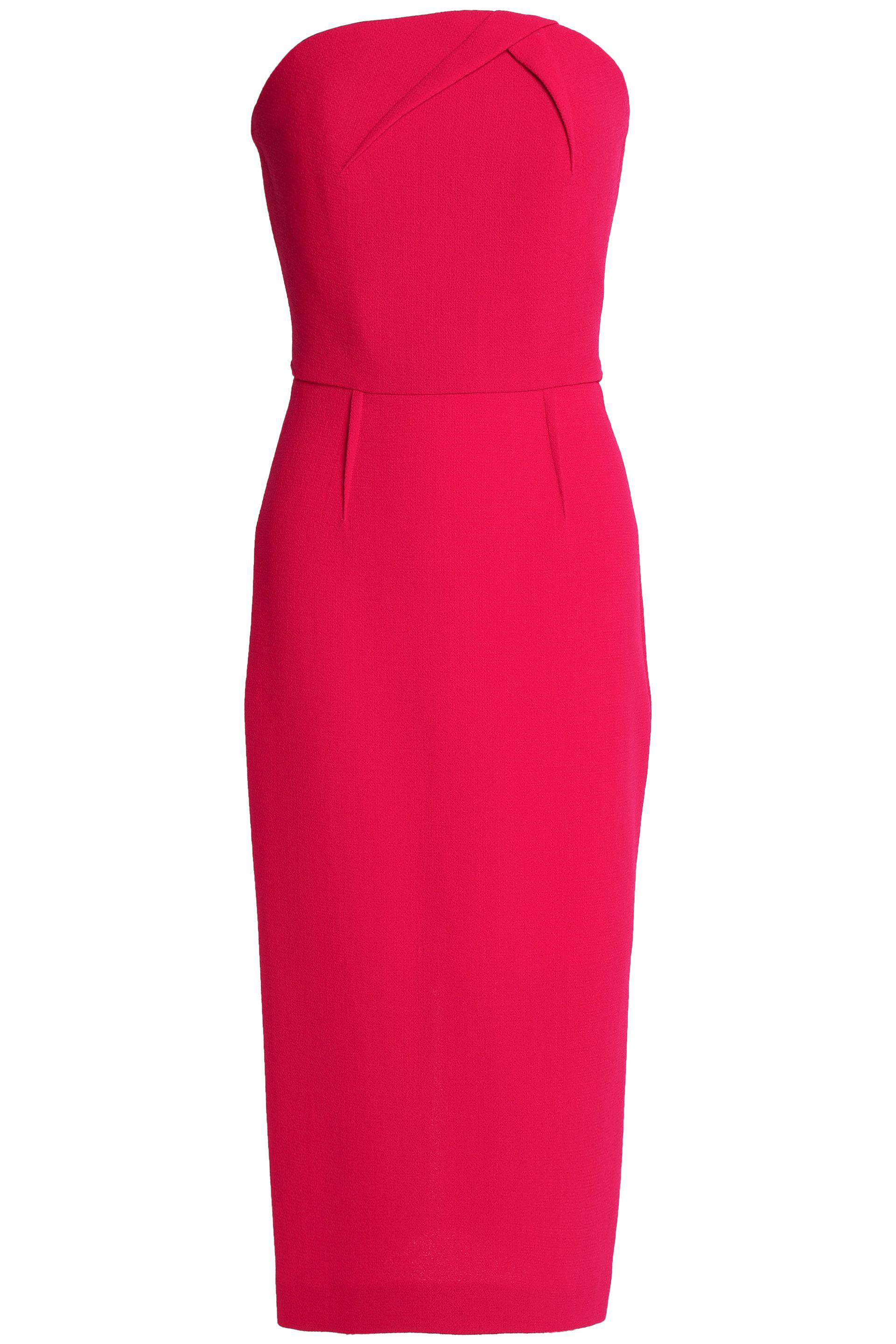 Roland Mouret Strapless wool-crepe dress ($988) liked on