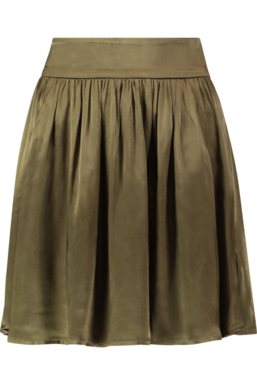 343b4666c2c Ganni Pleated Satin Mini Skirt in Green - Lyst