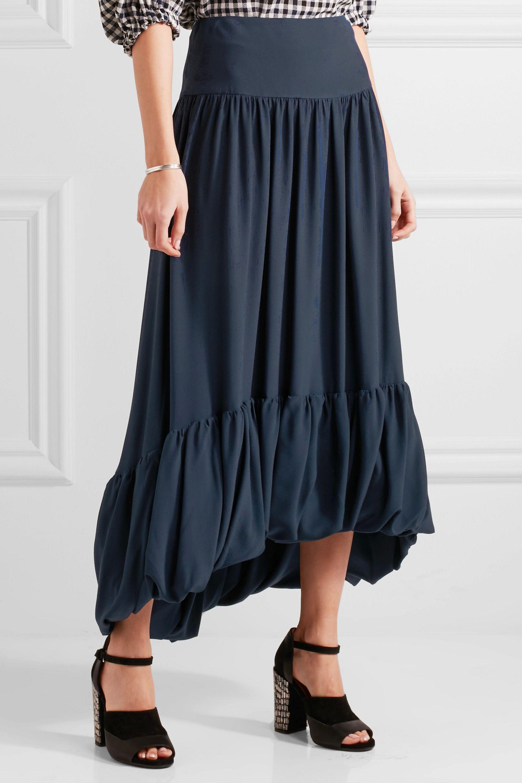Sonia Rykiel Silk Crepe De Chine Midi Skirt in Navy (Blue)
