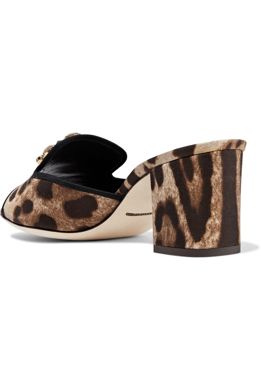 c51f3f8510c Lyst - Dolce   Gabbana Woman Crystal-embellished Leopard-print Satin ...