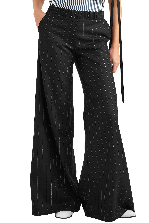 Hellessy Striped Wool-blend Wide-leg Pants Black