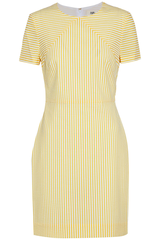 a2d41253d7cd Lyst - Diane von Furstenberg Striped Seersucker Mini Dress in Yellow