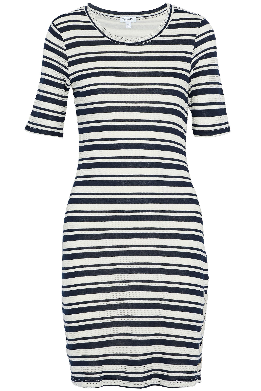 Buy Cheap Best Place Splendid Woman Lace-up Striped Pointelle And Stretch-knit Mini Dress Ecru Size M Sunshine Many Kinds Of For Sale FL8xL