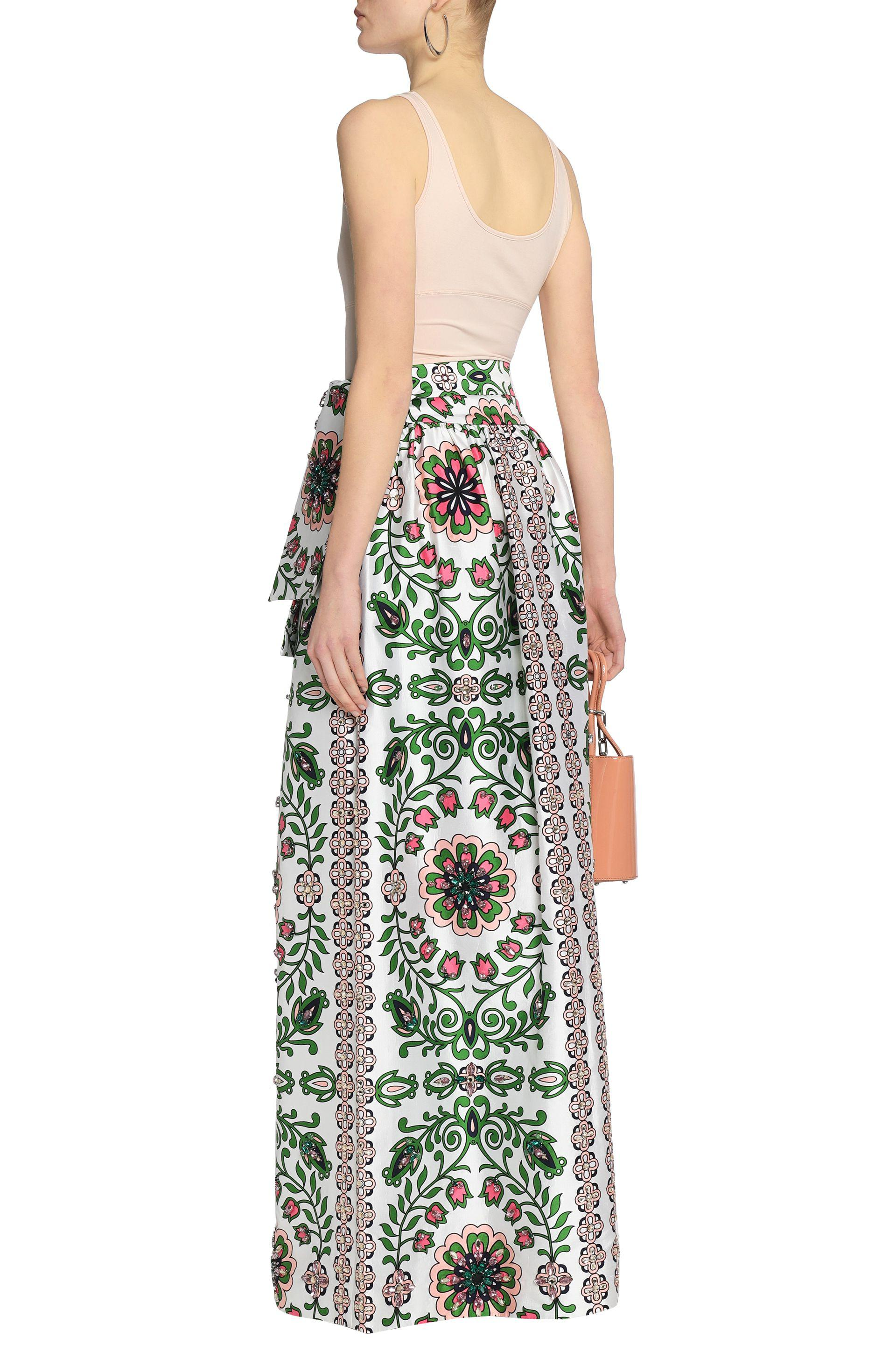 Tory Burch Woman Crystal-embellished Printed Silk-satin Maxi Skirt White Size 10 Tory Burch vXtGUlV3