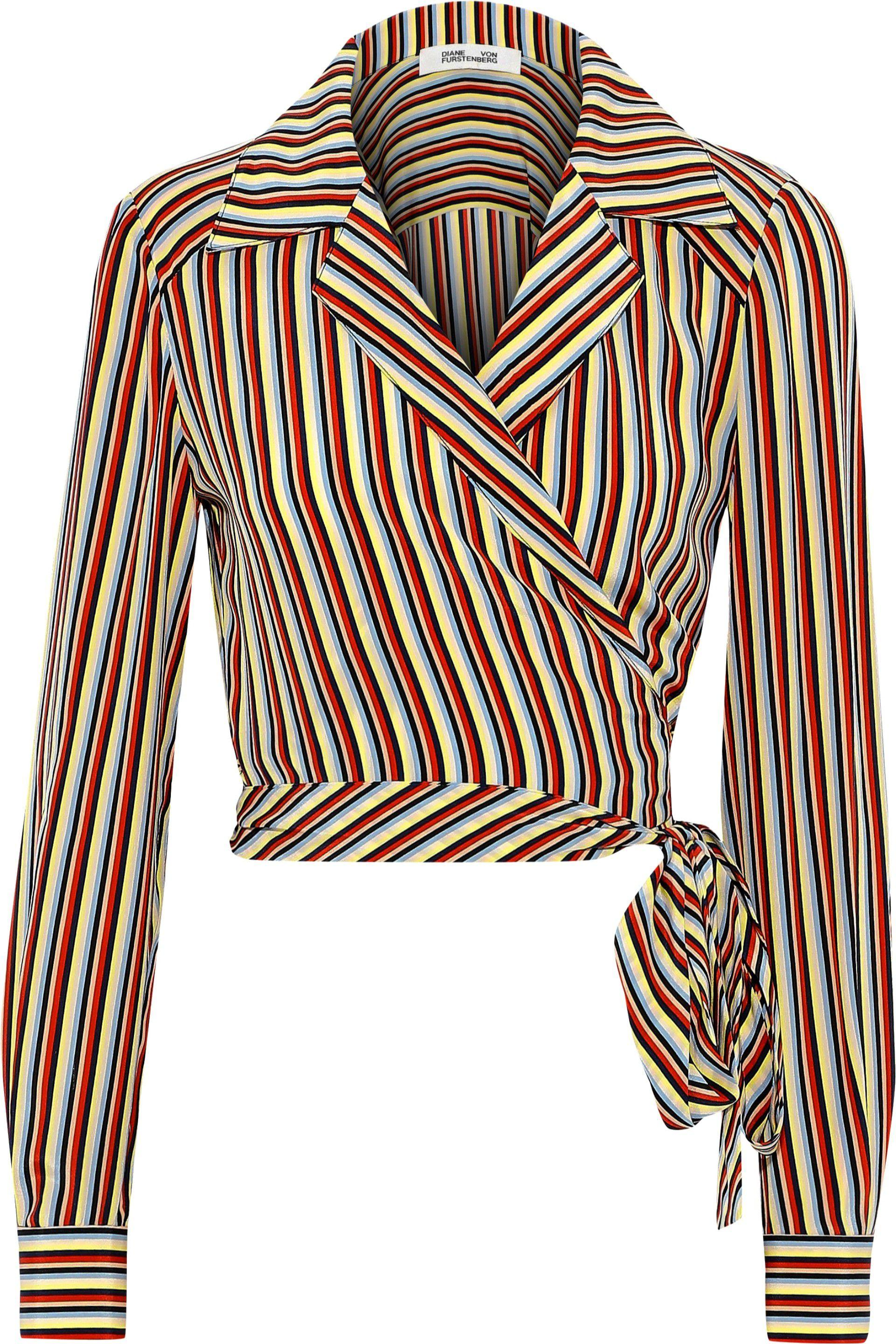 fb0623f18e387 Diane von Furstenberg - Blue Woman Striped Silk Crepe De Chine Wrap Shirt  Pastel Yellow -. View fullscreen