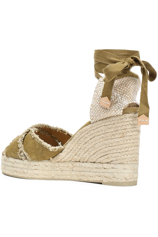 af56a389daa Women's Castañer Bluma Frayed Cotton-canvas Wedge Espadrille Sandals Sage  Green