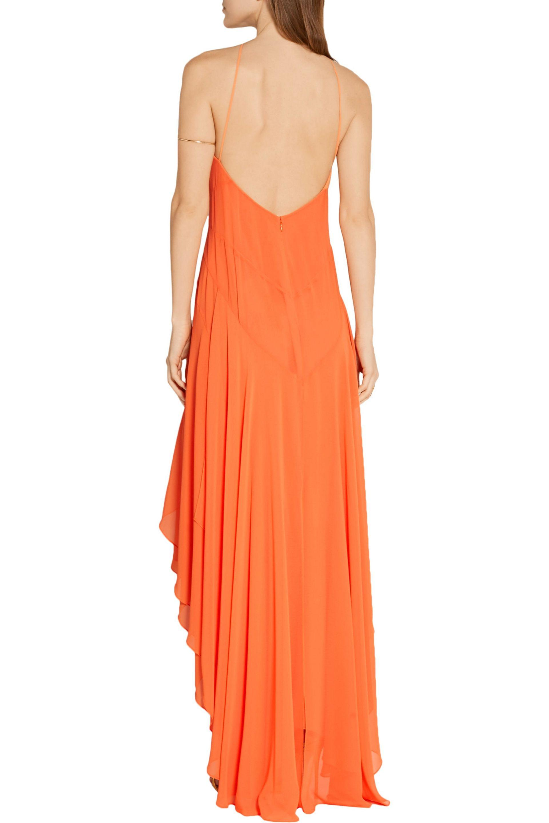 Halston Synthetic Asymmetric Georgette Gown in Orange