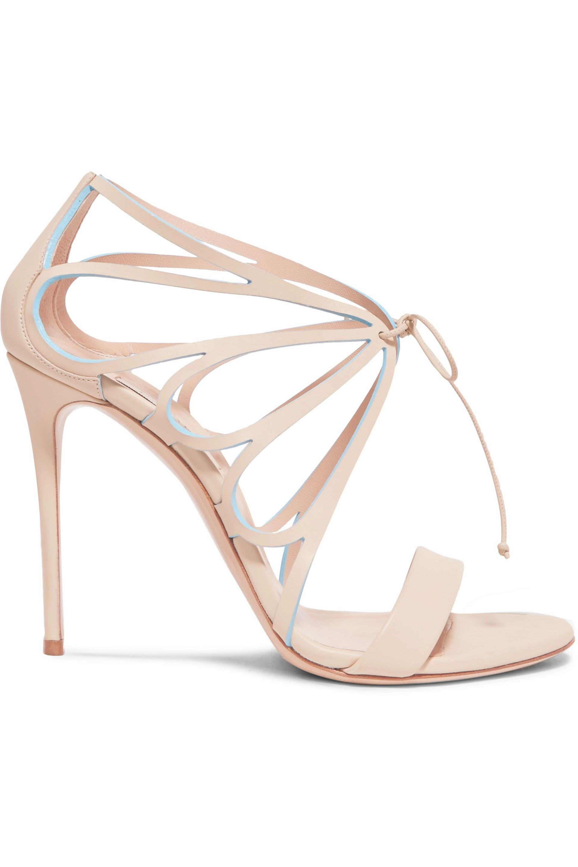 64fe848eb1c Casadei Vittoriale Cutout Leather Sandals Beige in Natural - Lyst
