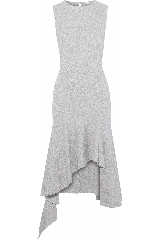 Goen.j Woman Asymmetric Mélange Cotton-jersey Midi Dress Light Gray Size L GOEN.J 8bb0I2XETo