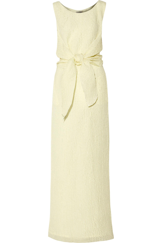 948f616d8152 Nina Ricci Tie-front Silk-blend Seersucker Midi Dress Pastel Yellow ...