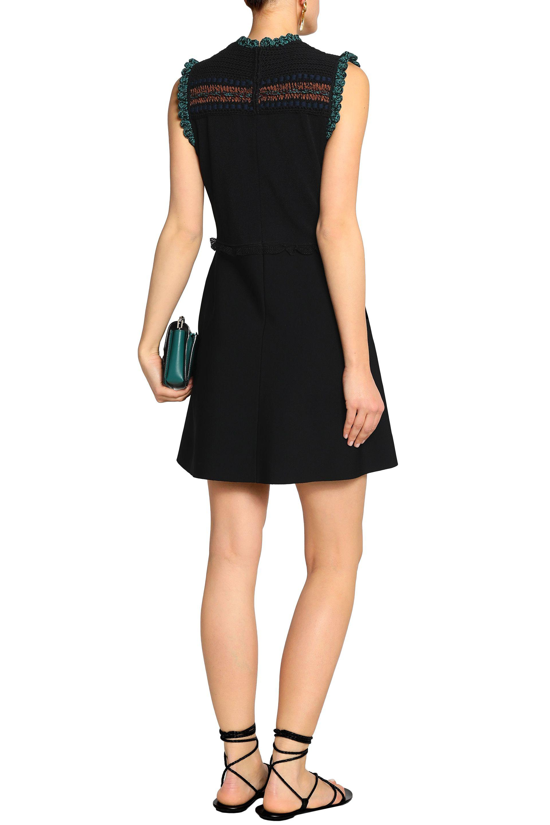 Valentino Woman Embroidered Crochet-knit And Ponte Mini Dress Black Size L Valentino Unisex Free Shipping Cheap Quality Clearance Online Fake Cheap New Arrival eH4XgZzIi0