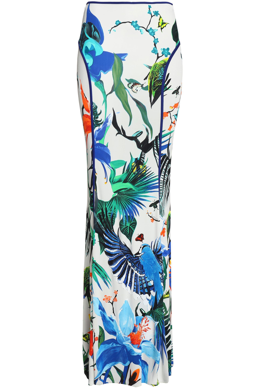 e6c70543ce Roberto Cavalli Printed Crepe Maxi Skirt in White - Lyst