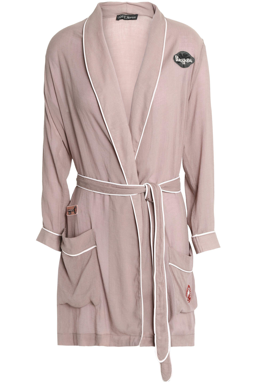 Deals For Sale Love Stories Woman Appliquéd Cotton-voile Robe Taupe Size S Love Stories Buy Cheap Finishline Sale Amazing Price Amazon Cheap Price iAO2lKjJ