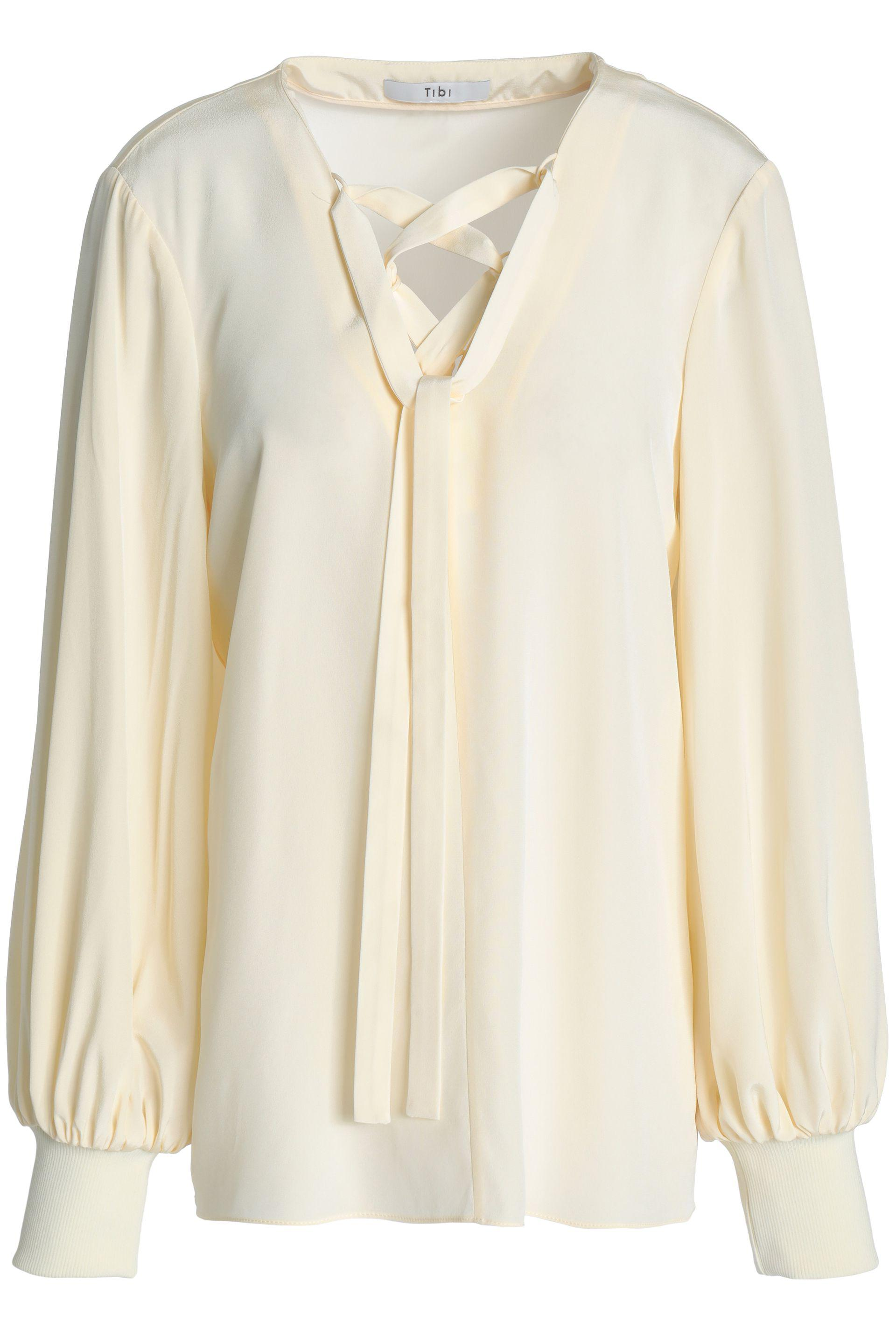 aa1596437740 Lyst - Tibi Lace-up Silk Crepe De Chine Blouse in White