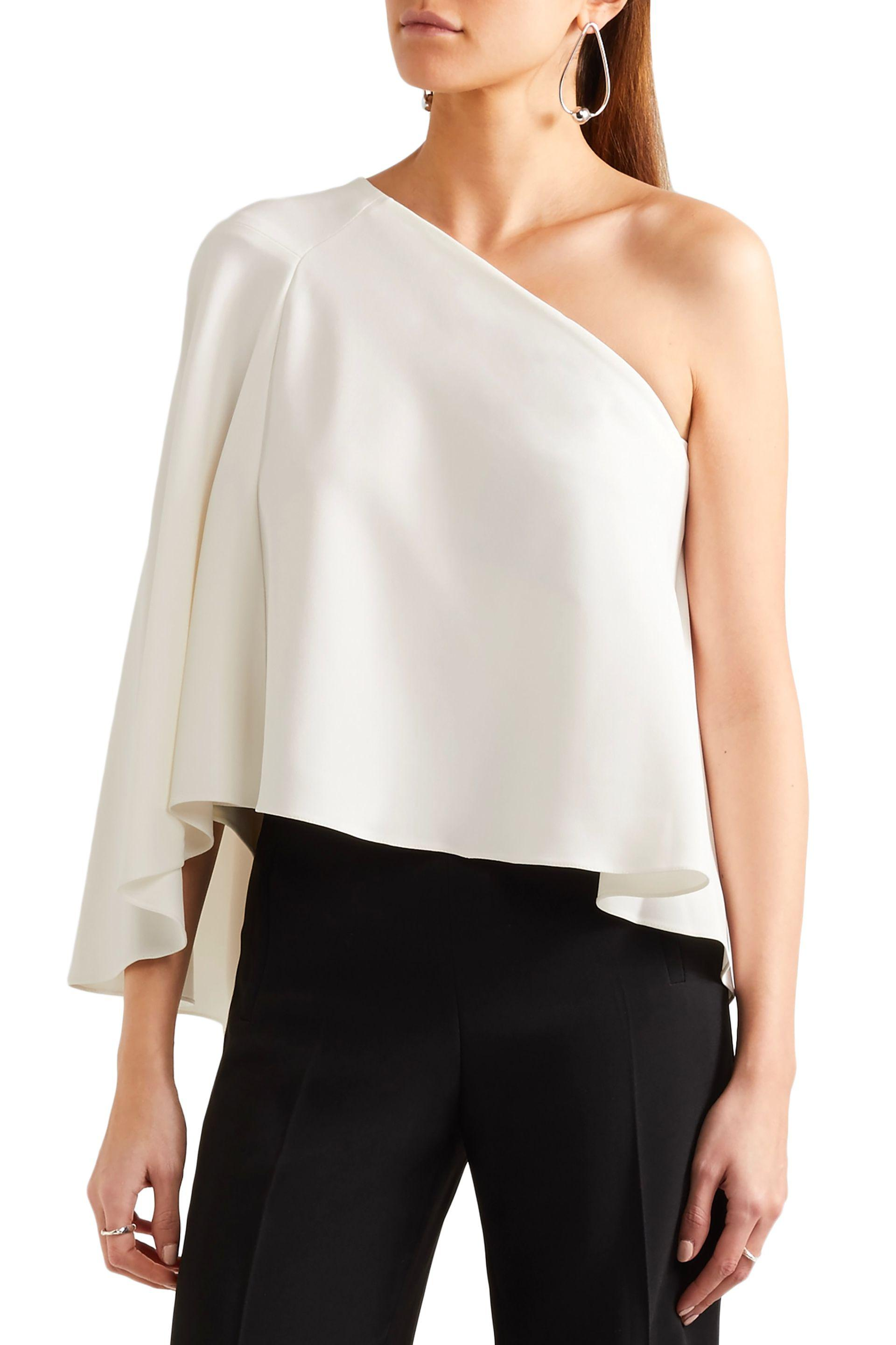 Roland Mouret Hurley One-shoulder Layered Crepe Top in Ivory (White)