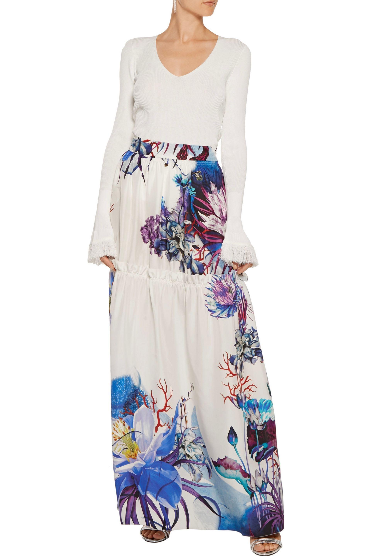 599f71daf0 Roberto Cavalli - Blue Woman Tiered Printed Silk Maxi Skirt White - Lyst.  View fullscreen