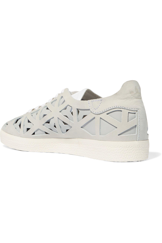 adidas Originals Gazelle Cutout Suede Sneakers in Light Gray (Grey)