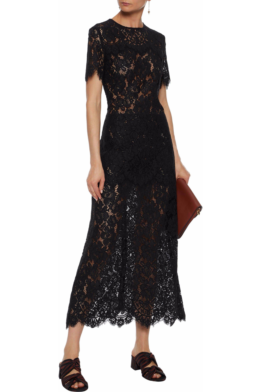 b15c1eeb Ganni Woman Duval Lace Midi Dress Black in Black - Save 23% - Lyst