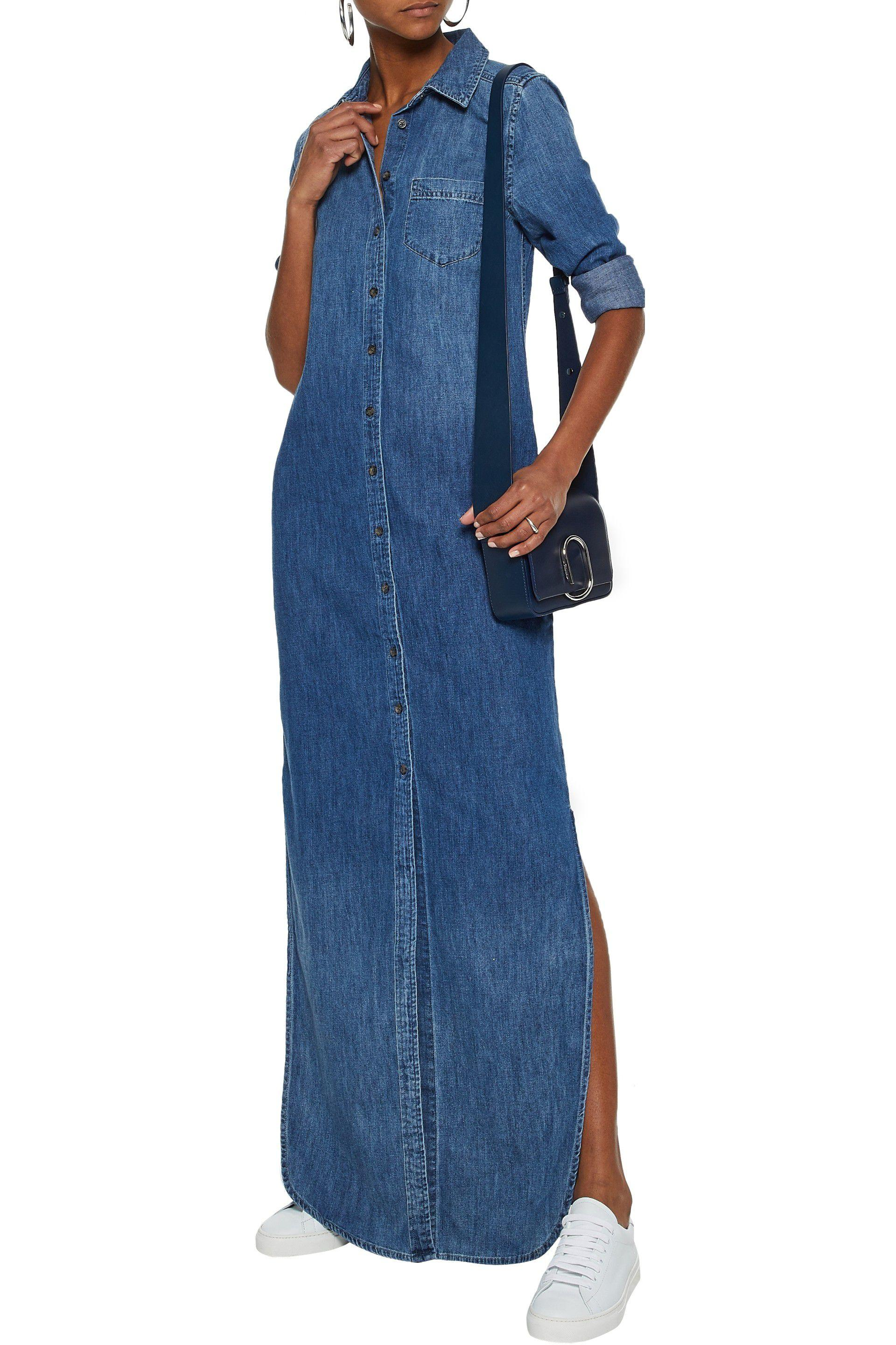 5b79bea8373 Lyst - Equipment Woman Brett Denim Maxi Shirt Dress Mid Denim in Blue