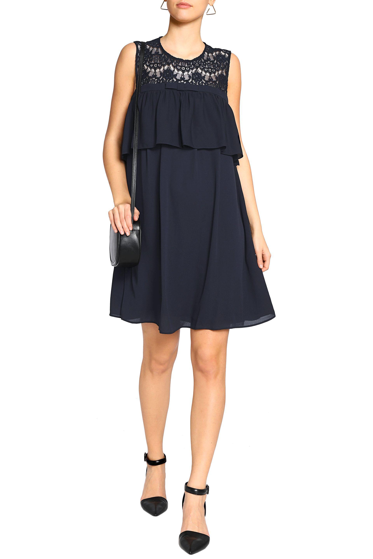 paneles Claudie mini Pierlot en capas con De vestido de medianoche Chine encaje talla azul 36 Crepe mujer AqwtSgnPxq