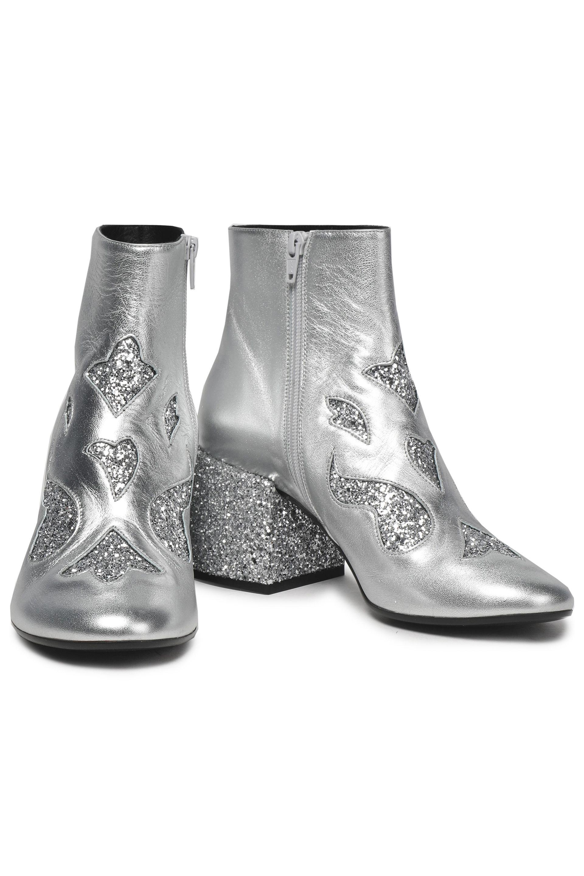 MM6 by Maison Martin Margiela Glittered Leather Ankle Boots in Silver (Metallic)