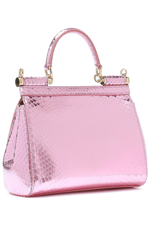 938c5dc5ca Dolce   Gabbana - Woman Sicily Mini Mirrored-python Shoulder Bag Baby Pink  - Lyst. View fullscreen