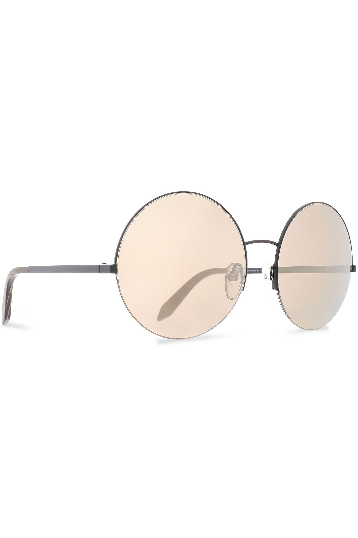 02d0ad802551 Victoria Beckham - Woman Supra Round-frame Gunmetal-tone Mirrored Sunglasses  Black - Lyst. View fullscreen