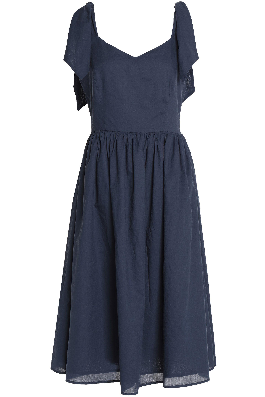 Iris & Ink Woman Remy Gathered Cotton-voile Dress Navy Size 10 IRIS & INK 14GPmYucAk