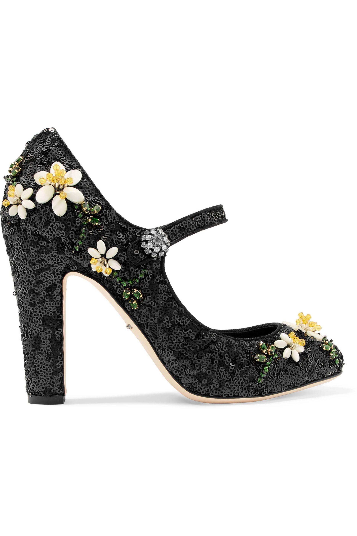 fa4361e14380 Dolce   Gabbana. Women s Black Floral-appliquéd Sequined Leather Mary Jane  Pumps