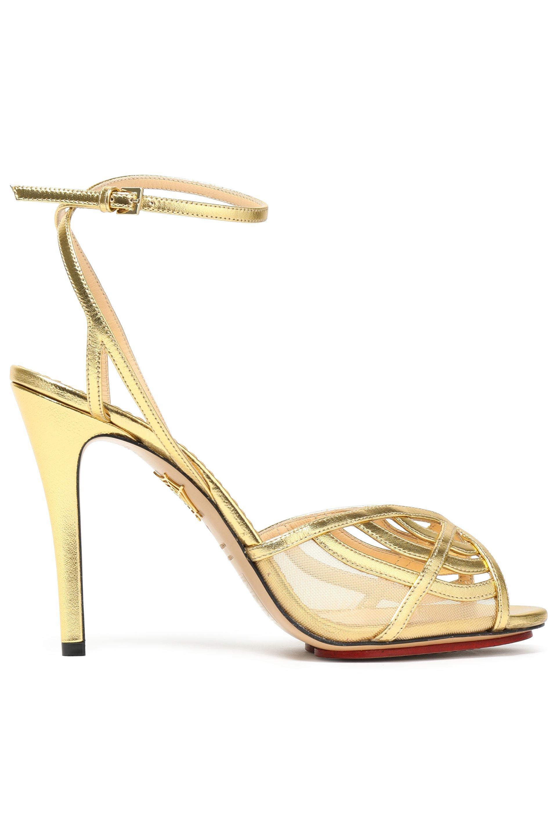 32c7cd85daf Charlotte Olympia Metallic Leather And Mesh Sandals in Metallic - Lyst