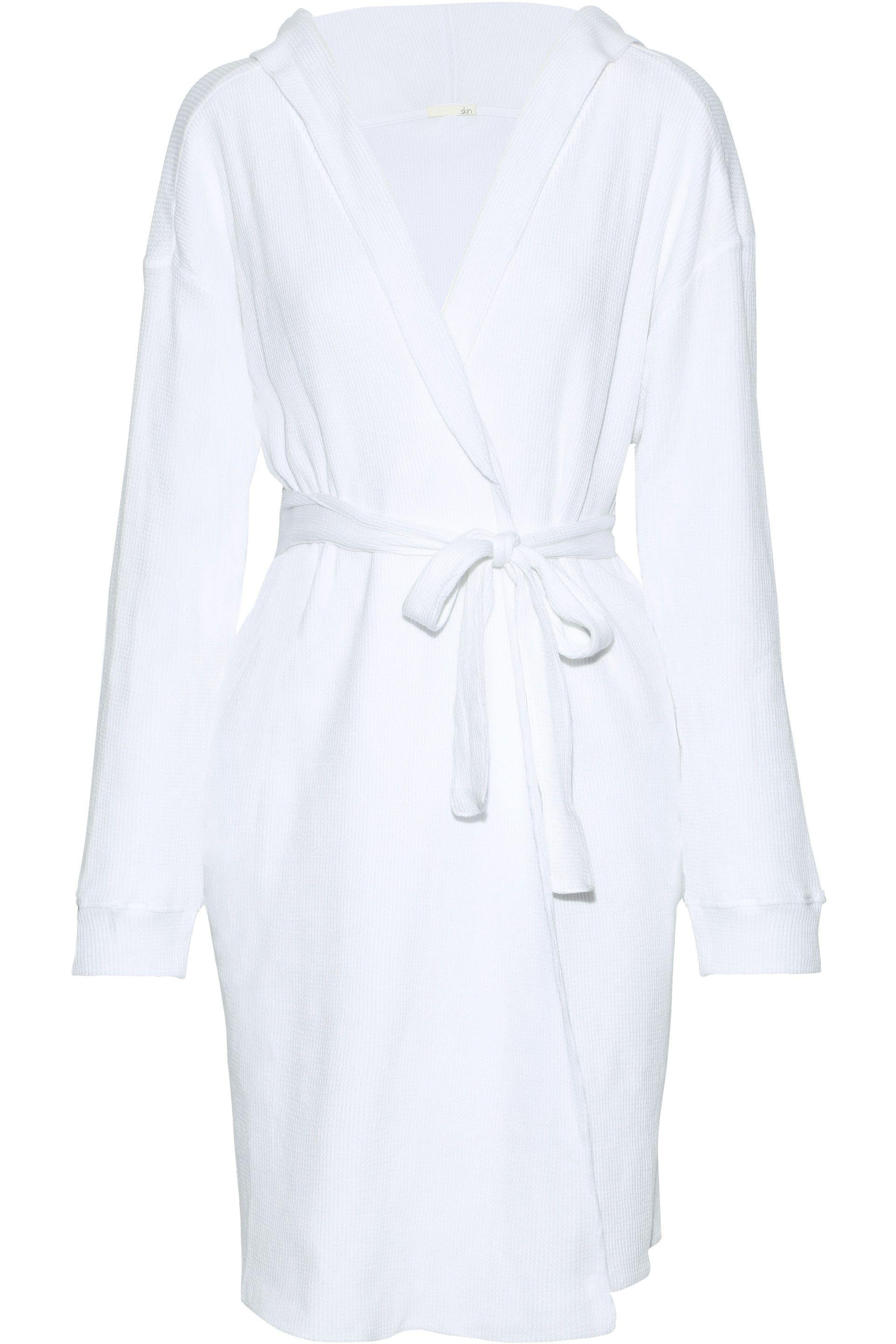 6255adce9d Lyst - Skin Woman Avedon Waffle-knit Cotton Hooded Robe White in White