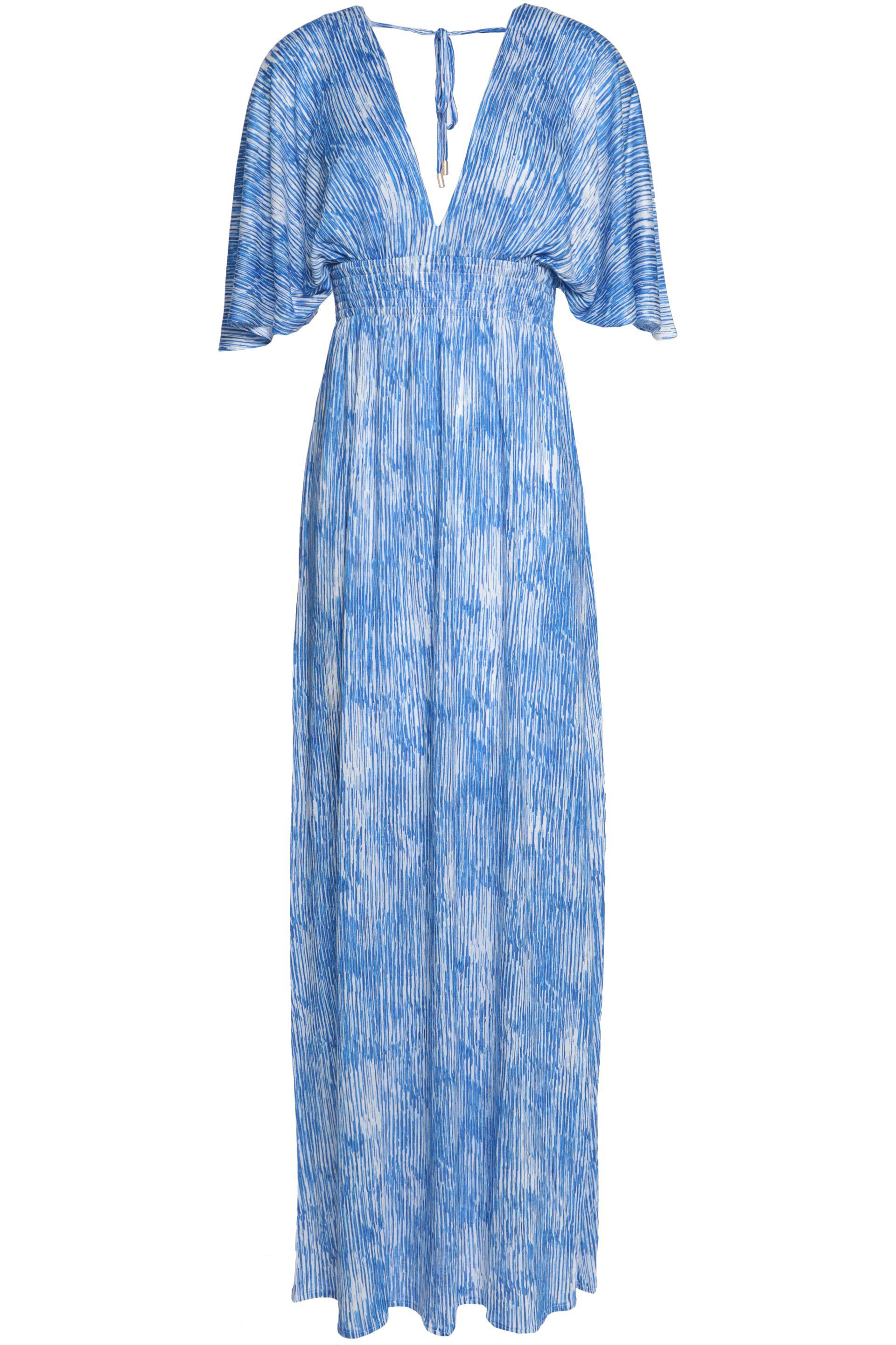 Melissa Odabash Woman Gathered Floral-print Crepe De Chine Coverup Blue Size M Melissa Odabash Wiki Sale Online Inexpensive Cheap Online Limit Discount 2018 New Online JsrG91bDp