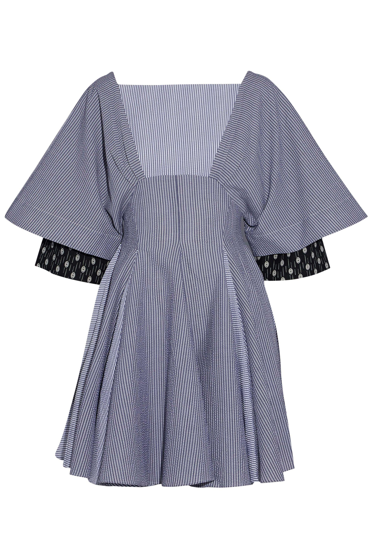 J.w.anderson Woman Lace-up Striped Cotton Mini Dress Blue Size 10 J.W.Anderson UgPL8L