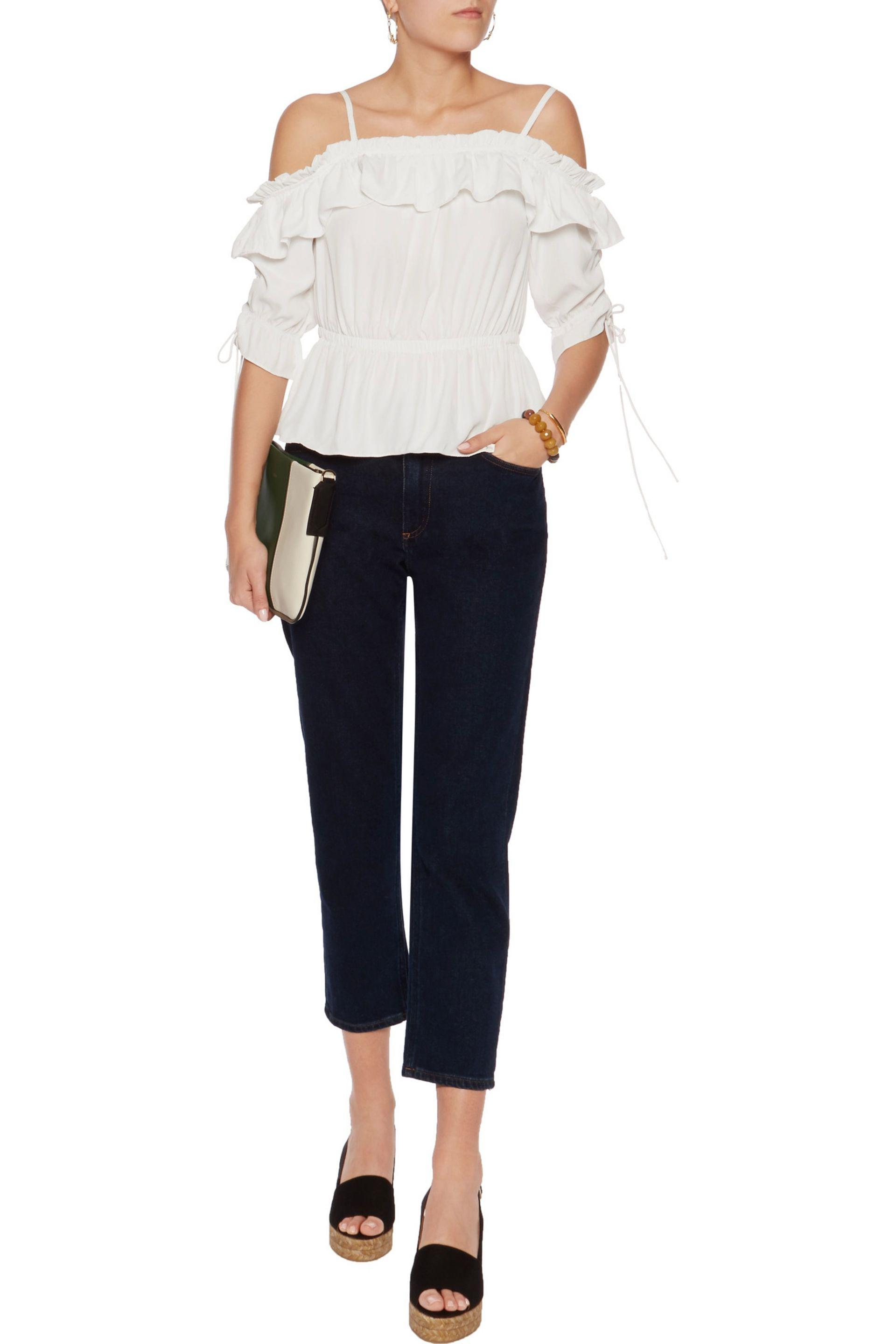 W118 by Walter Baker Synthetic Jenni Cold-shoulder Ruffled Crepe De Chine Peplum Top in White