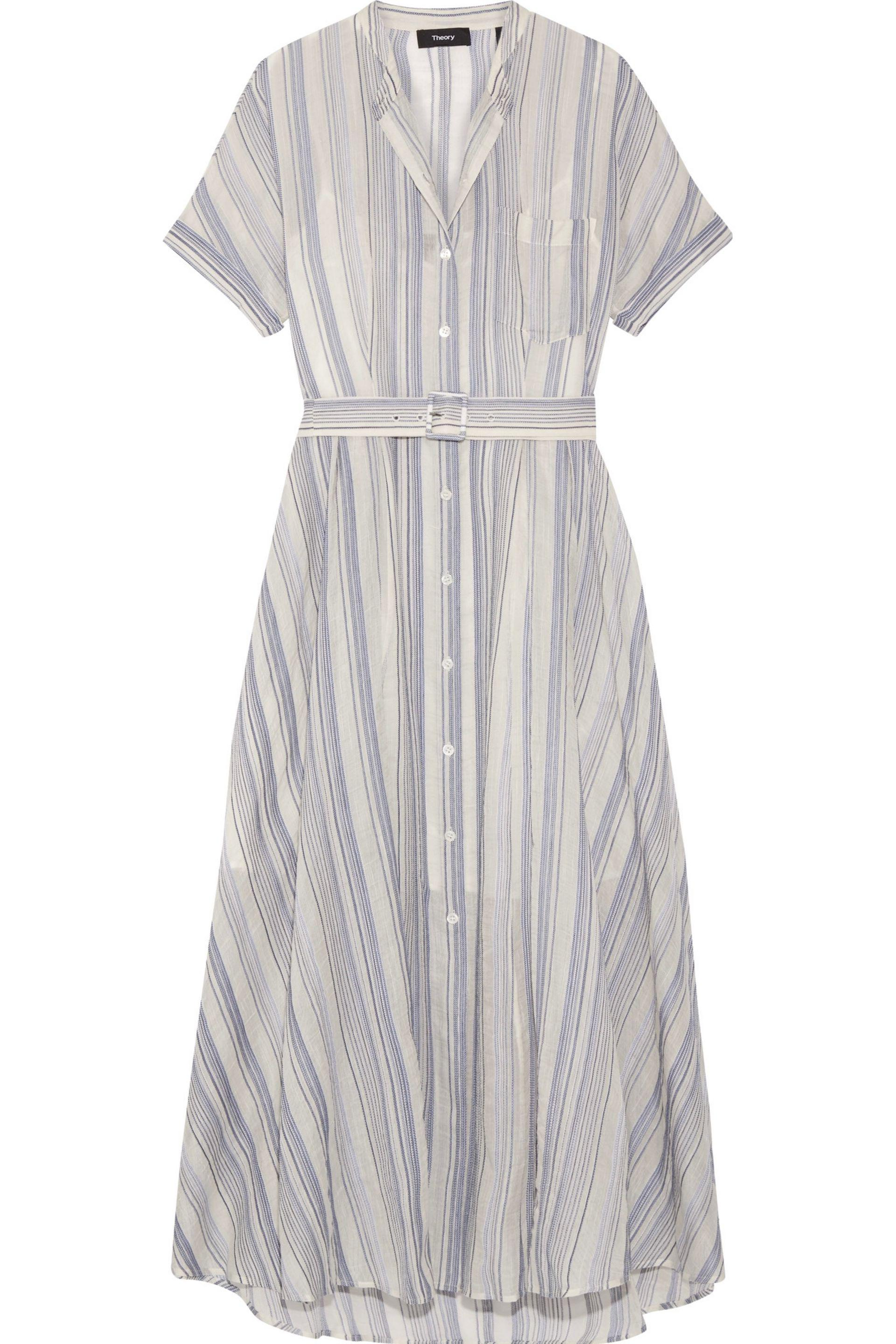 12f4e06f73c0 Theory Avink Striped Crinkled Cotton And Silk-blend Midi Dress in ...
