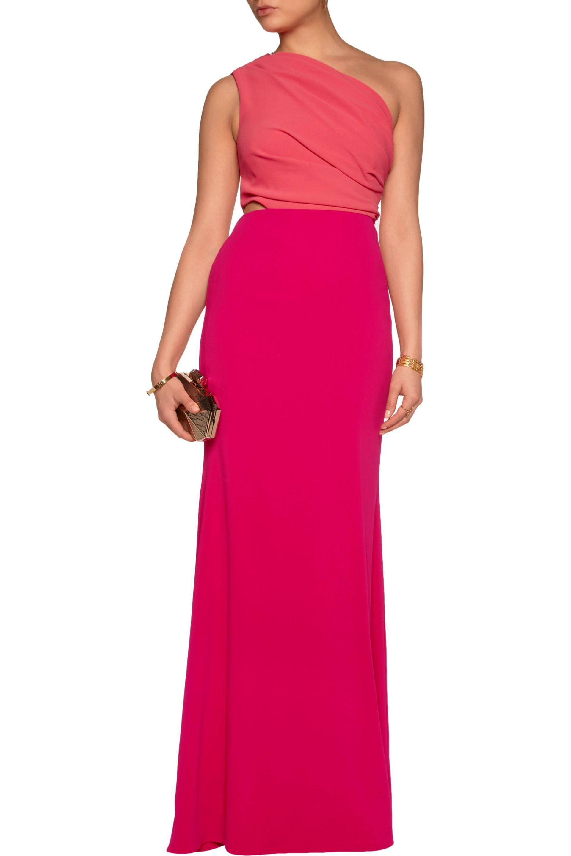 Badgley Mischka Synthetic One-shoulder Two-tone Crepe De Chine Gown Fuchsia in Pink