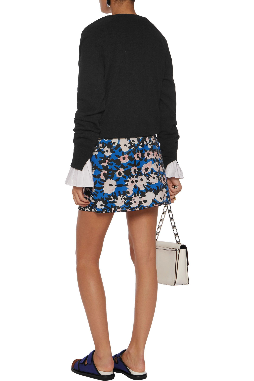 Marni Printed Chiffon Skirt Cobalt Blue