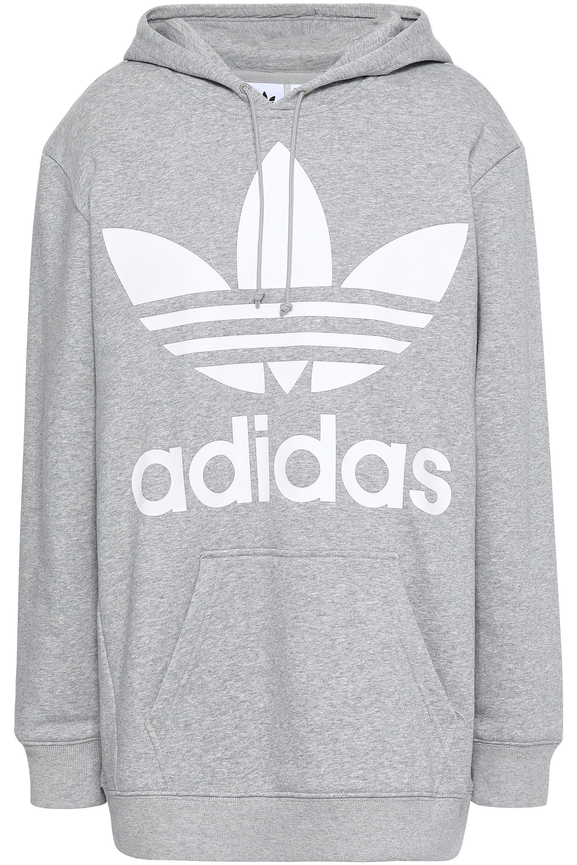 9101a958520 Adidas Originals - Woman Mélange Printed Cotton-blend Fleece Hooded  Sweatshirt Light Gray - Lyst. View fullscreen