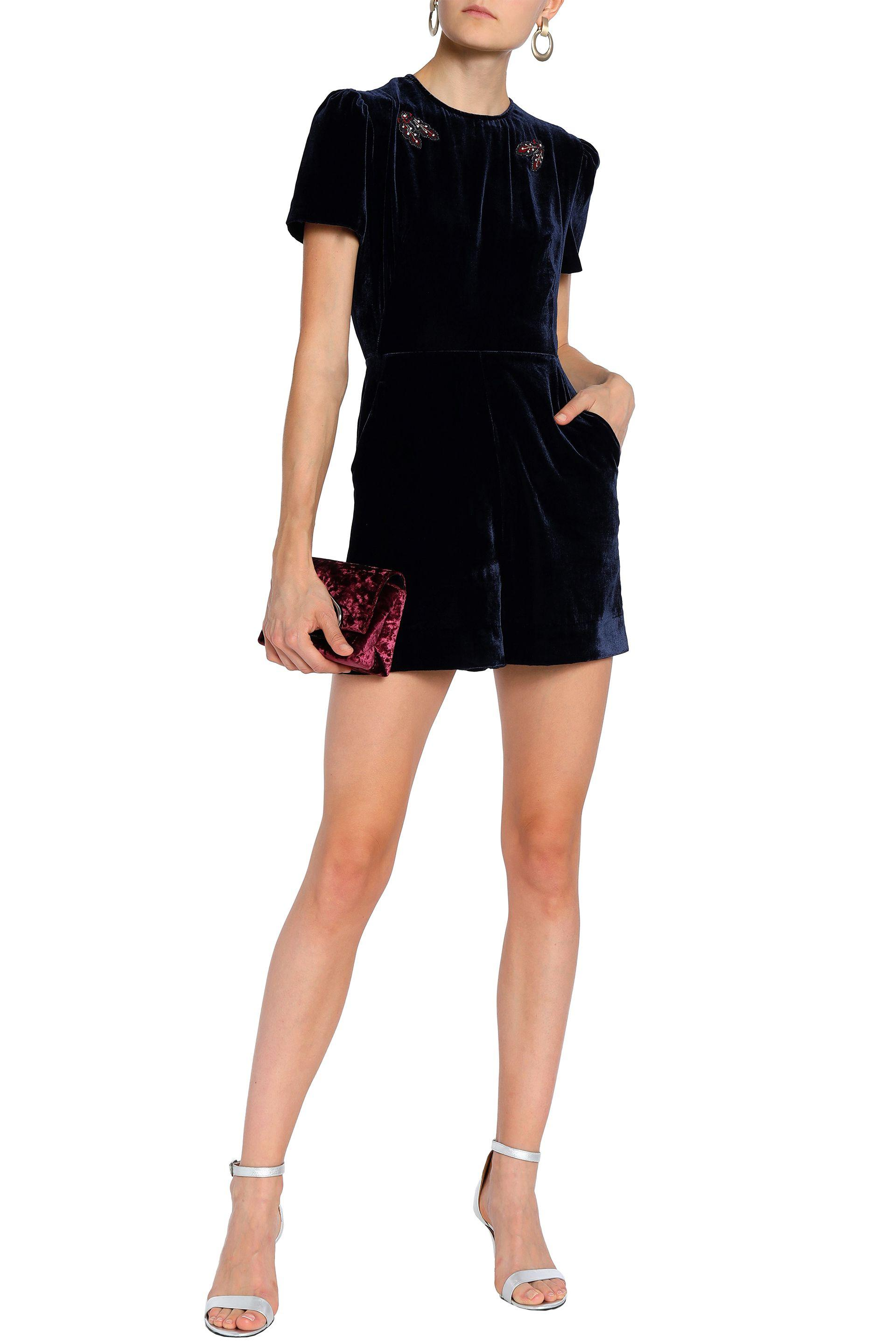 Womens Blue Cutout Embellished Velvet And Lace Playsuit Navy