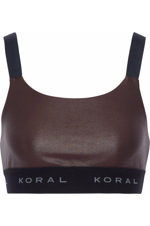 08174cdc6d588 Lyst - Koral Woman Dare Cutout Coated Stretch Sports Bra Chocolate ...