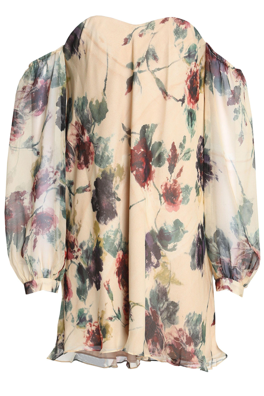 Haute Hippie Woman Cold-shoulder Floral-print Silk Crepe De Chine Mini Dress Off-white Size 0 Haute Hippie sK5p08X2dG