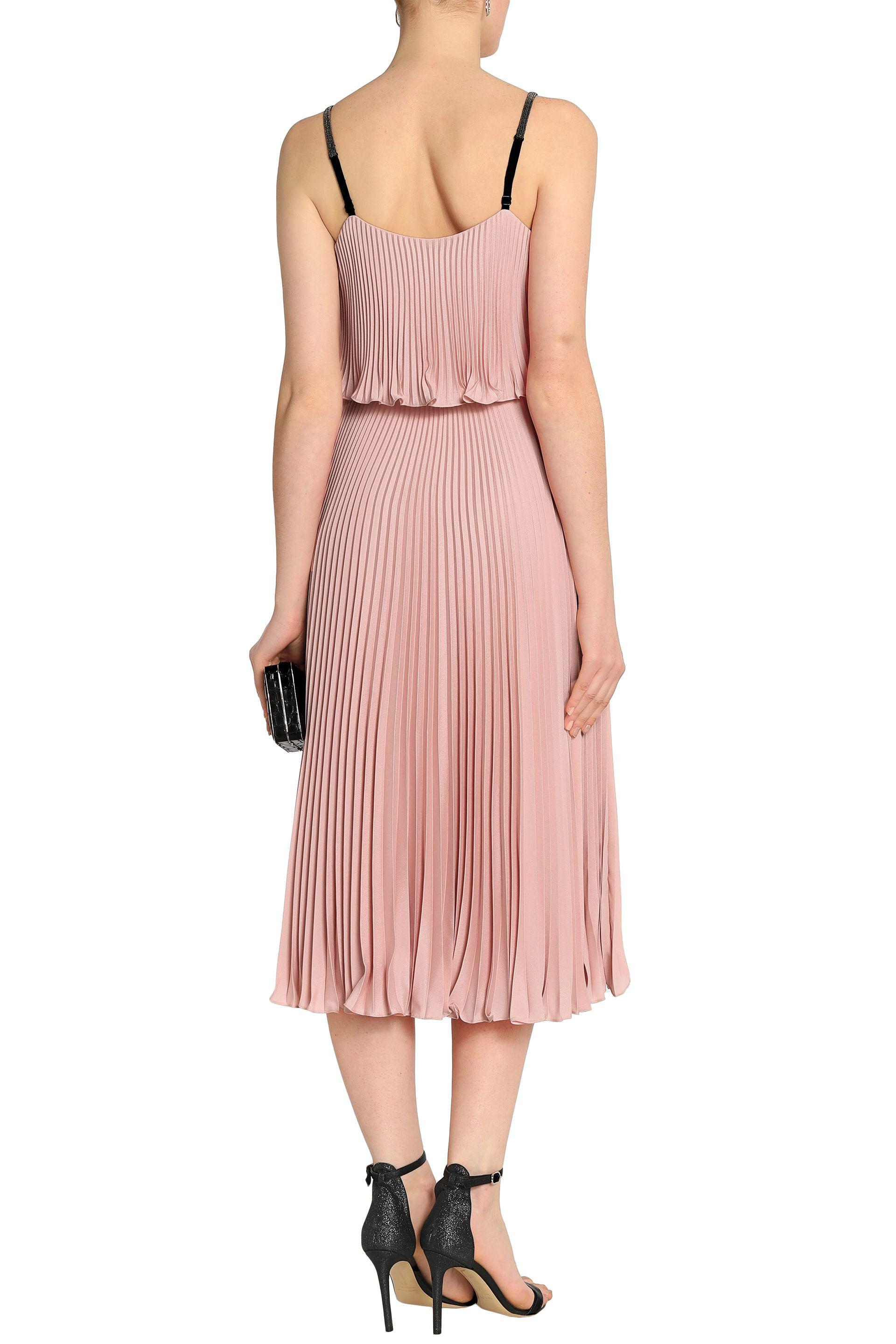 76ff292ed15 Halston Layered Pleated Crepe De Chine Midi Dress in Pink - Lyst