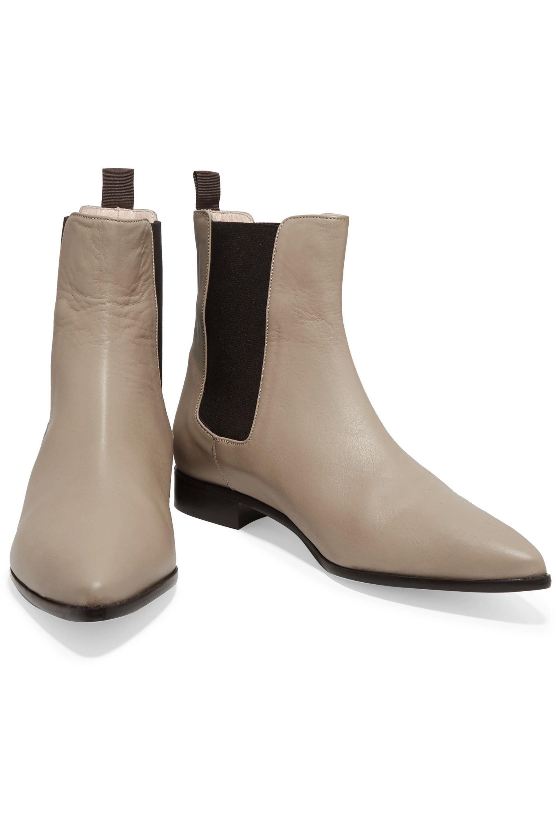 Iris & Ink Elena Leather Ankle Boots in Beige (Natural)