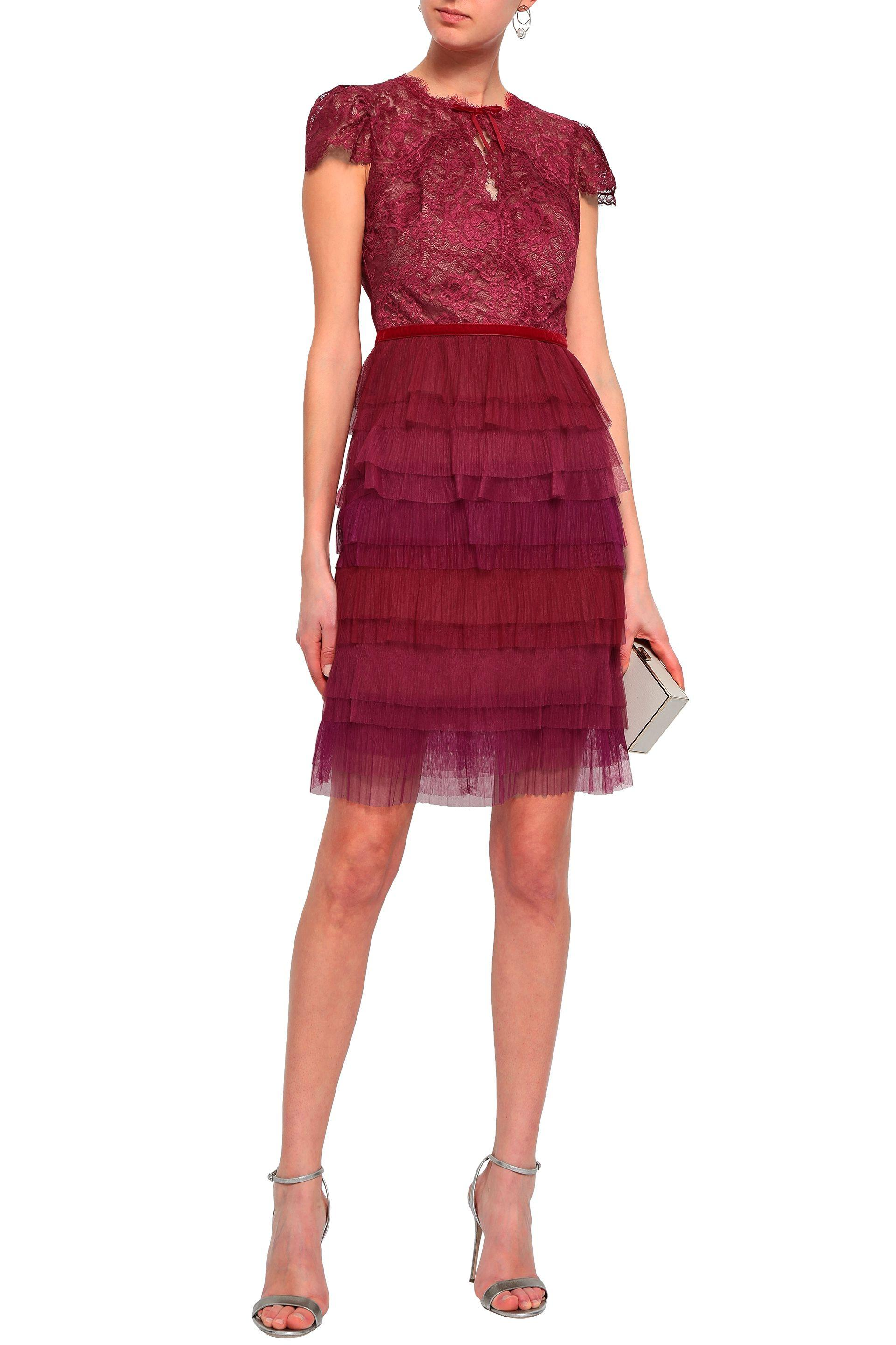 Tiered Lace And Plissé Tulle Mini Dress Plum