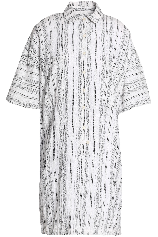 Derek Lam 10 Crosby Woman Striped Linen And Cotton-blend Mini Shirt Dress White Size XL Derek Lam 2018 Newest wQ8i2liLuc