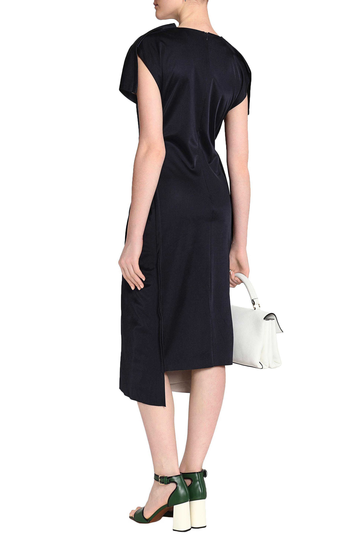 Marni Woman Twist-front Jersey Midi Dress Midnight Blue Size 42 Marni Discount Low Cost 6iCcppt